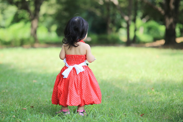 Baby Girl Back View in Red Dress