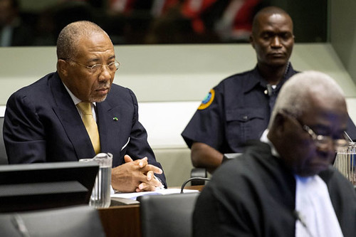 Former Liberian President Charles Taylor sits at an appeal hearing in The Hague. Taylor appeal of his conviction of 50 years was denied. by Pan-African News Wire File Photos