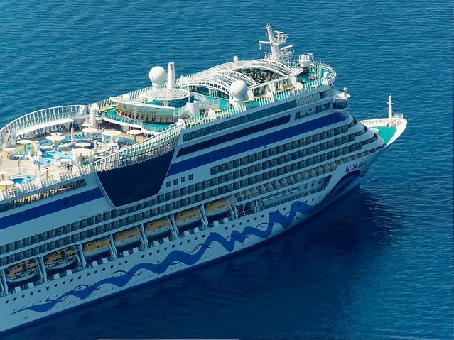 Cruise Ship AIDAdiva In Caldera Santorini Greece