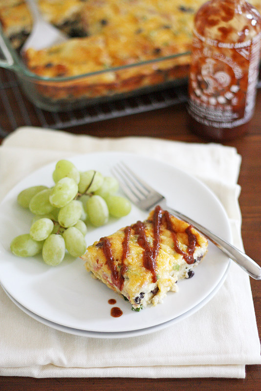 Cheesy Southwest Black Bean Egg Bake | girlversusdough.com @stephmwise