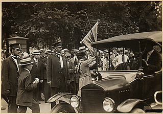 Suffragists arrested for picketing the White House. Photo shows suffragist arrested in front . . ., 07/14/1917