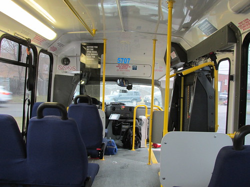 Forward seated interior view aboard First Transit small Ford paratransit mini bus # 5707.  Glenview Illinois.  Early December 2013. by Eddie from Chicago