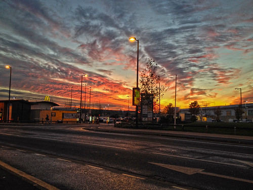 road sunset sky streetlights centre mcdonalds portsmouth pompey jainbow