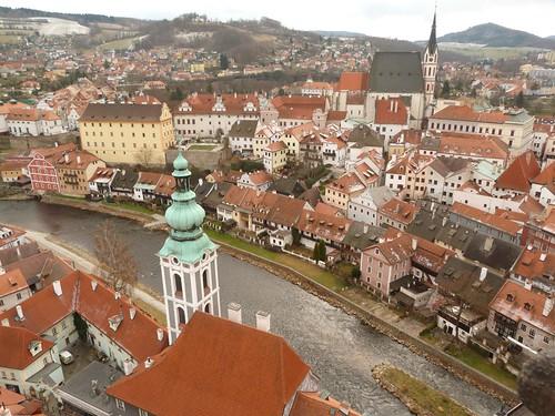 Panorámica de Cesky Krumlov desde lo alto de la torre del castillo