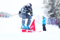 Tristan Tafel gets some air during training in Nakiska, CAN at the FIS Ski Cross World Cup