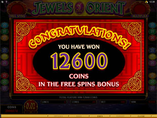 Jewels of the Orient Free Spins Prize