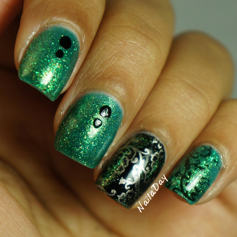 NailaDay: NYX Emerald Forest with black and gold skittlette