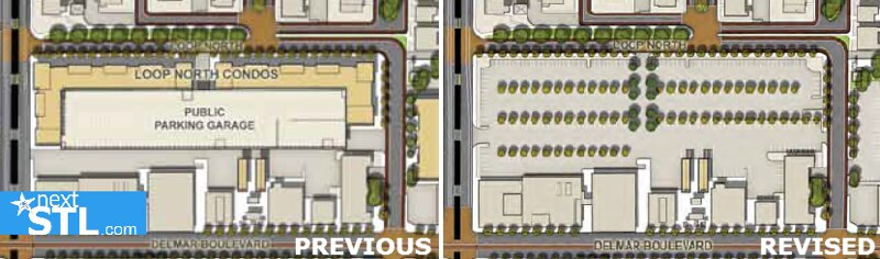 Previous presentations showed a condo development with 210 units and structured parking. From Draft Executive Summary by  H3 Studios