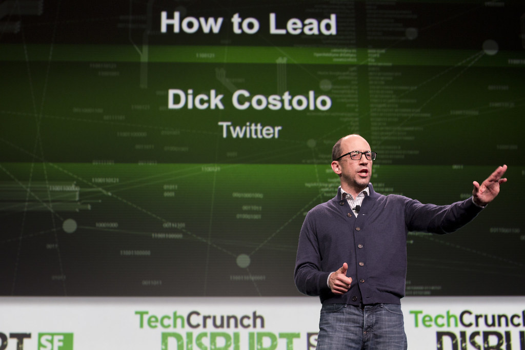Twitter CEO Dick Costolo on stage at Disrupt SF 2013. PHOTO: Jason Duaine Hahn