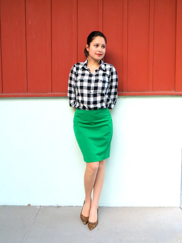 Gold Polka Dots - green skirt and plaid shirt 4