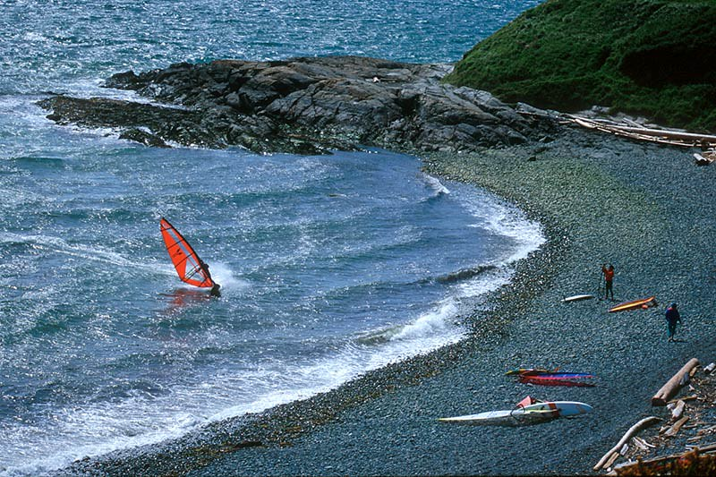 Windsurfing at the bottom of Dallas Road in Victoria, Vancouver Island, British Columbia, Canada