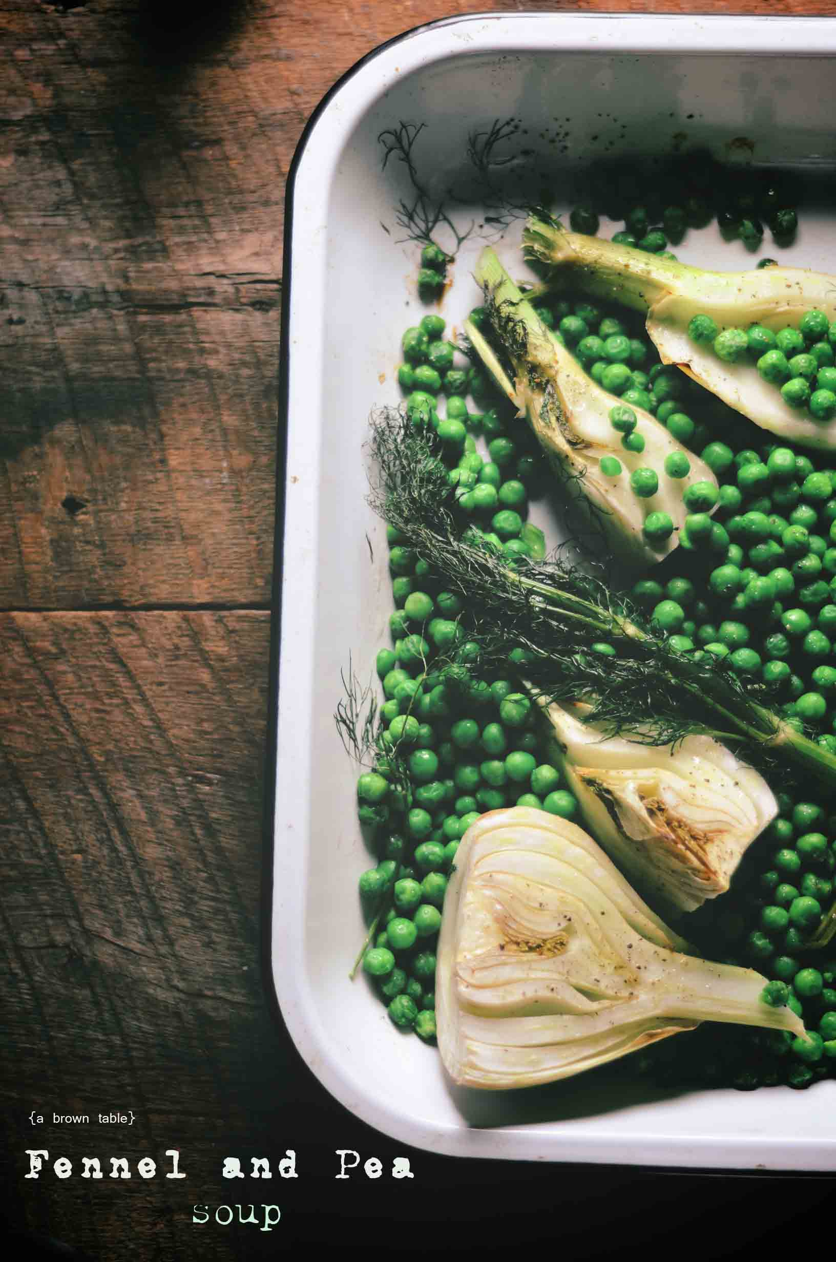oven roasted fennel and peas