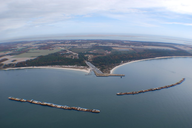 An aerial view of the park shows the concrete ships and the fishing pier.