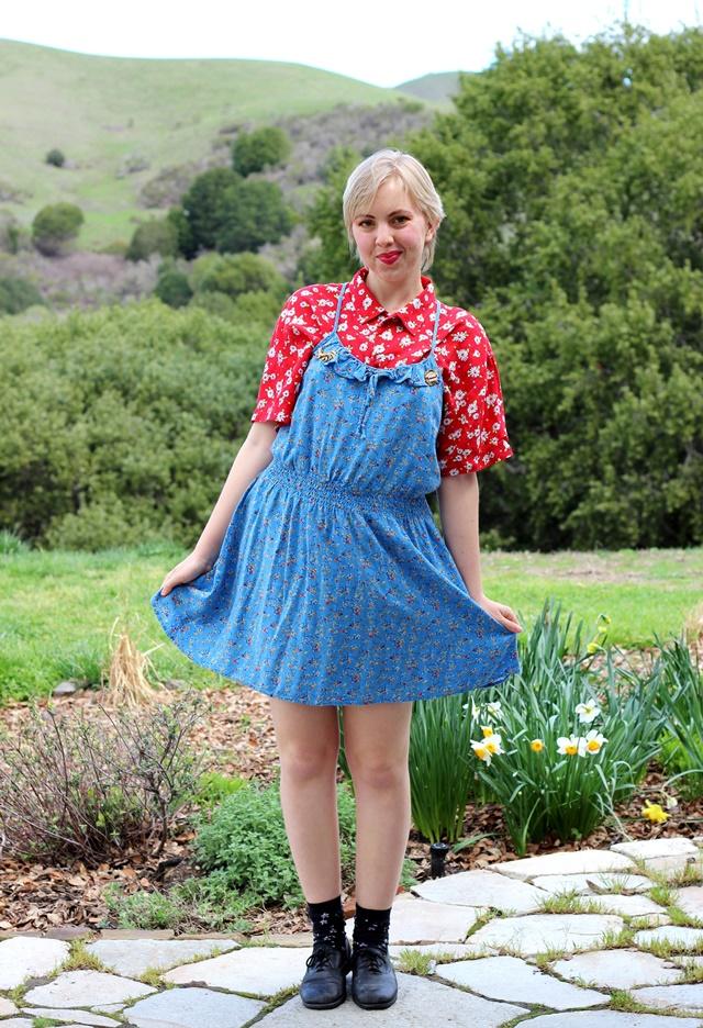 blue floral dress over red floral blouse
