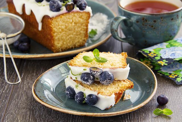 Lemon cake with blueberry glaze.