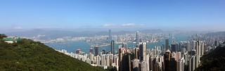 View of the Hong Kong Island and Kowloon skylines from Victoria Peak