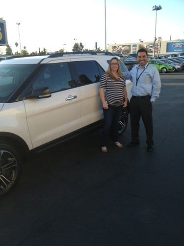 Kelly McCoy from Elk Grove with Obeth Davilla and her new Ford Explorer Sport! Thank you!!