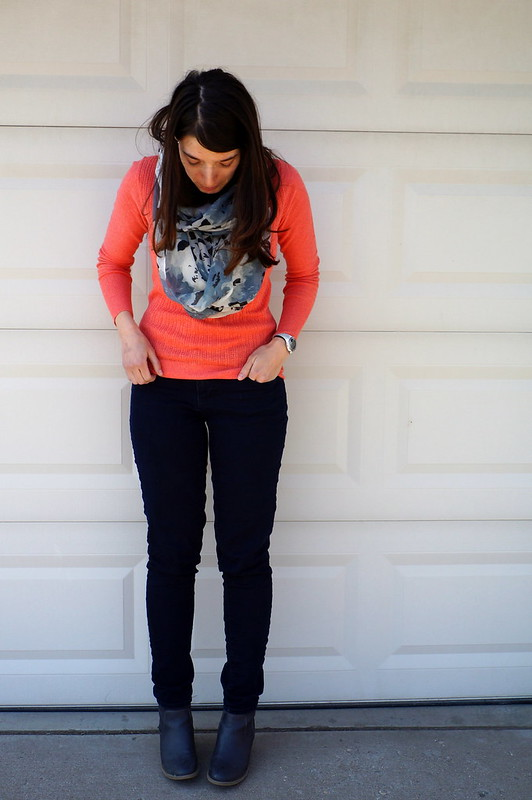 Target coral sweater and gray infinity scarf floral