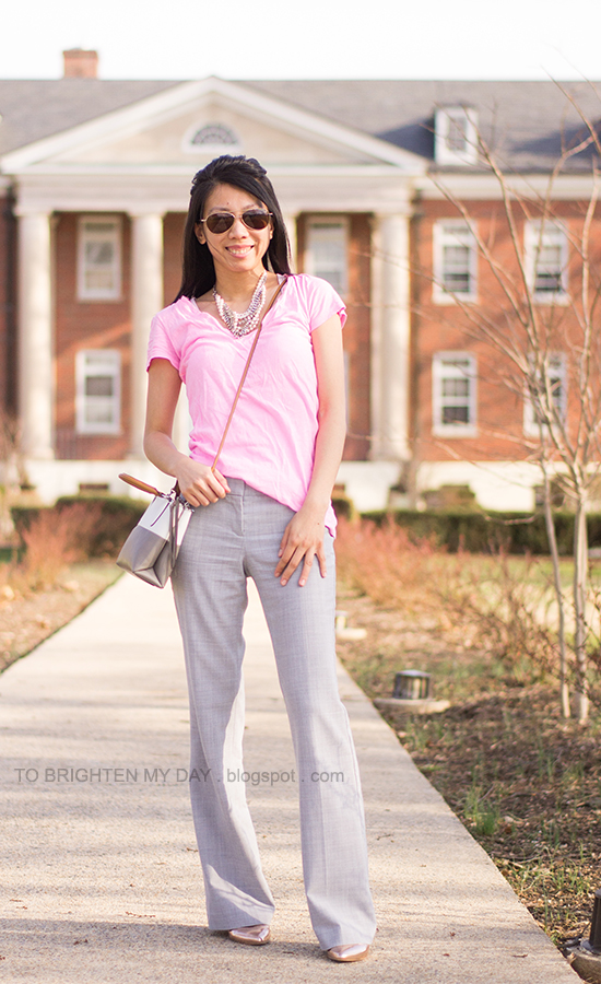 mixed statement necklace, neon pink tee, gray trousers, rose gold metallic wedges, crossbody colorblock bag
