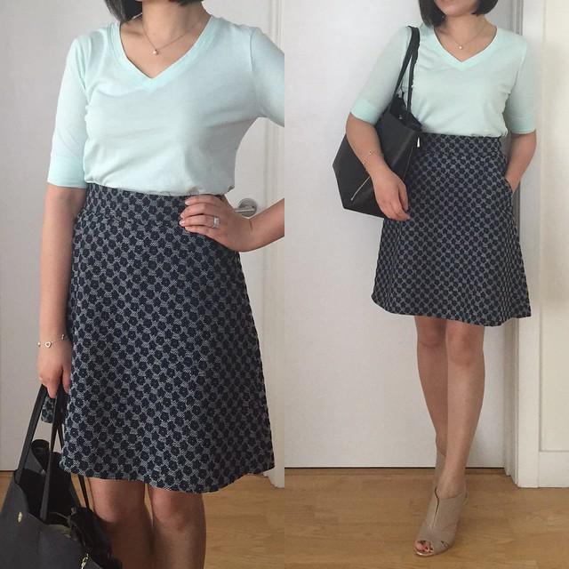 Ann Taylor Textured Flounce Skirt Outfit