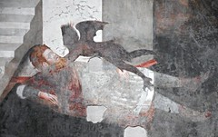 """The prefect Aegeas strangled by the demon"" - Detail of the ""Saint Andrew's Crucifixion"" - fresco (year 1309) by Pietro Cavallini - Brancaccio's Chapel in San Domenico Maggiore Church in Naples"