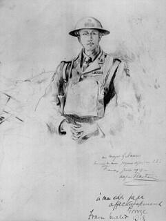 A pencil sketch of Major Georges P. Vanier by Alfred Bastien, June 1918 / Esquisse au crayon du major Georges P. Vanier par Alfred Bastien, juin 1918