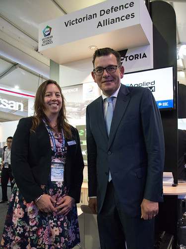 Premier Daniel Andrews visits the Victorian Defence Alliance pod at the Airshow.