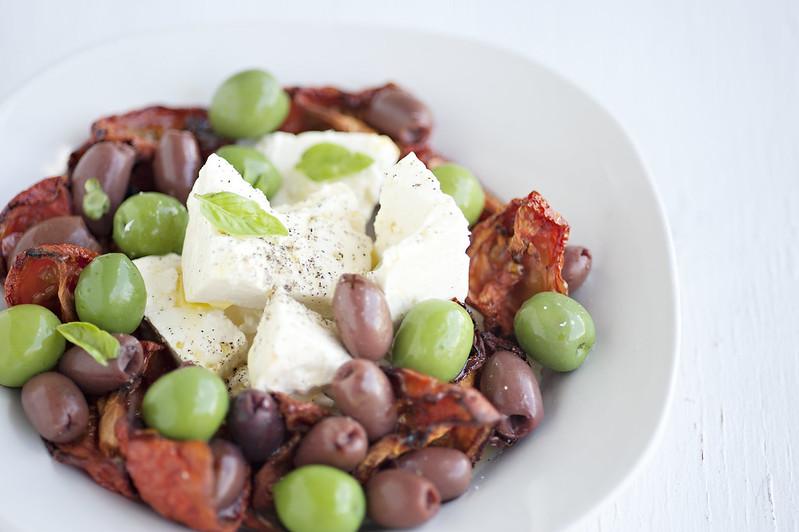 Slow Roasted Tomatoes, Olives, Basil  & Feta
