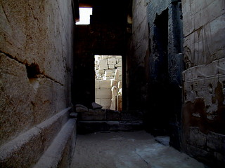 Egyptian sculptures in doorway