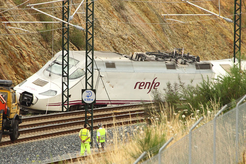 La locomotora accidentada en Santiago