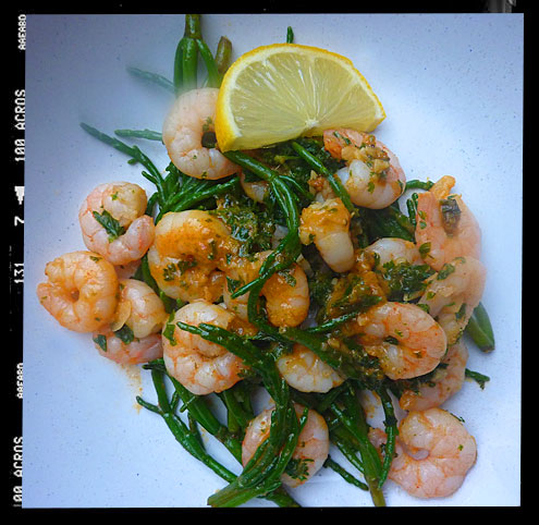 Prawns with samphire
