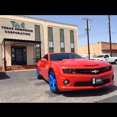 Oh yes we did! #camaro #bluewheels #ss #sanantonio #texasarmoring #texas