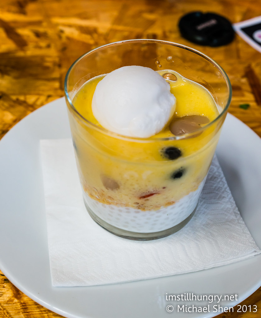 'passion pop' - coconut tapioca, tropical fruit, coconut sorbet, passionfruit fizz Ms G's