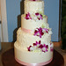 pink & white rustic orchid wedding cake