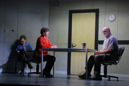 Chief Superindent Isobel McArthur (Maureen Beattie) confronts Alfred Chalmers (Philip Whitchurch), with Belle Jones' Female Nurse. Photo © Douglas McBride