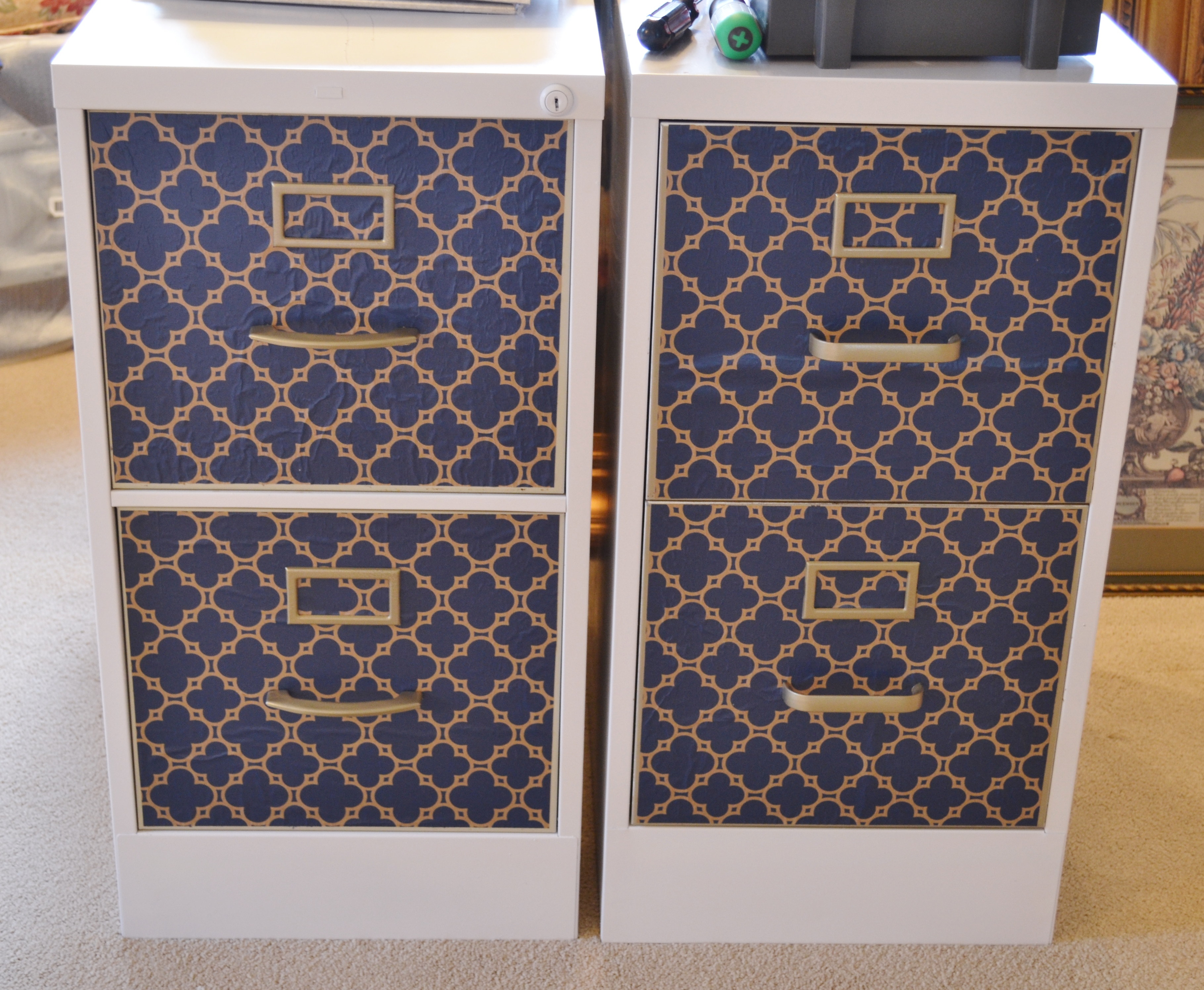 wallpapered file cabinet