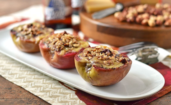 Edam Cheese Baked Apples: An easy appetizer of apples baked in red wine and stuffed with buttery, nutty Edam cheese.