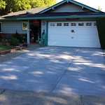 Broom Finish Driveway With Light Grey Color In Vacaville