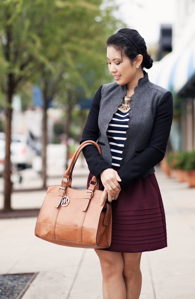 cute & little blog | mixing textures | scalloped wool jacket, striped lace shirt, burgundy full skirt, sole society elisa, emilie m jane satchel outfit #ootd, petite fashion