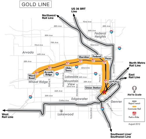 Map of Gold Line
