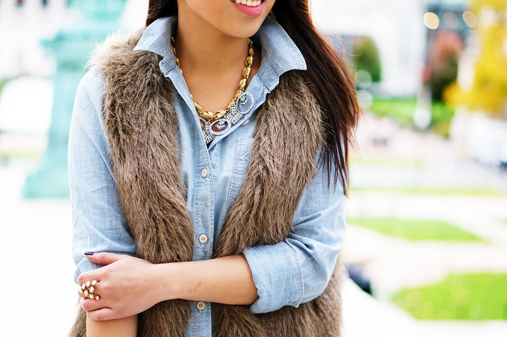 Petite Hues, Faux Fur Vest, Chambray Top, Lulu Frost Stardust Necklace, YSL Arty Dots Ring