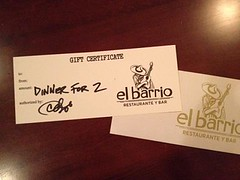 El Barrio Gift Certificate for Giving Tuesday 2013 Drawing!