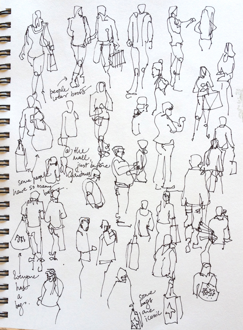 Sketching People:At the mall, just before Christmas