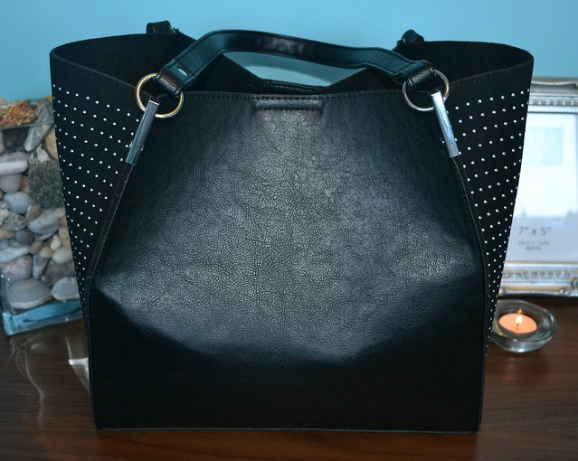 Black pin stud winged tote bag New Look