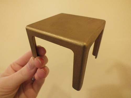 Doll size IKEA table with Rub 'n' Buff