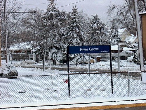 The River Grove Illinois Metra commuter rail station during the aftermath of a snowstorm.  December 1st, 2006. by Eddie from Chicago