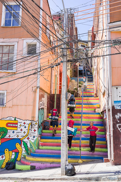 Street & cable art, Valparaiso, Chile