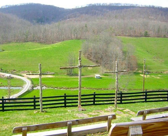 Three crosses on a hill at Henderson Settlement in Kentucky