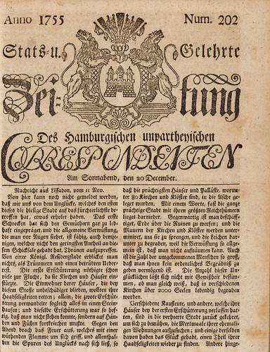 Stats- und Gelehrte Zeitung des Hamburgischen unpartheyischen Correspondenten, 20.12.1755: The most important German newspaper of the 18th and early 19th centuries; report on the Lisbon earthquake