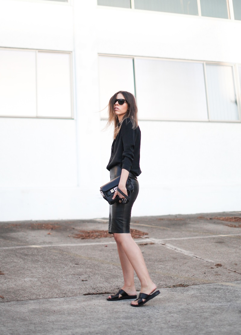 modern legacy fashion personal style blog australia leather pencil skirt KAHLO Proenza Schouler PS11 mini vs classic silk shirt slide sandals street style all black everything (13 of 13)